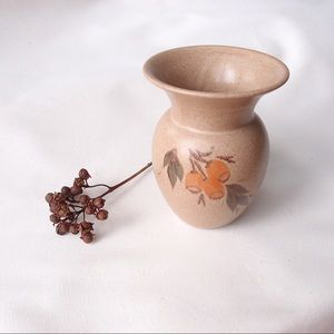 Earthy coloured vase with hand painted gumnuts